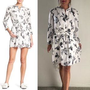 A.LC. Hazel Paisley print black & white silk dress